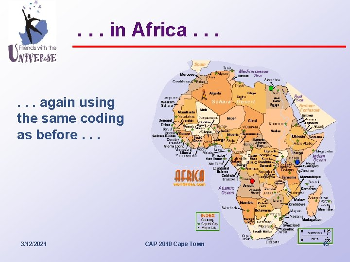 . . . in Africa. . . again using the same coding as before.