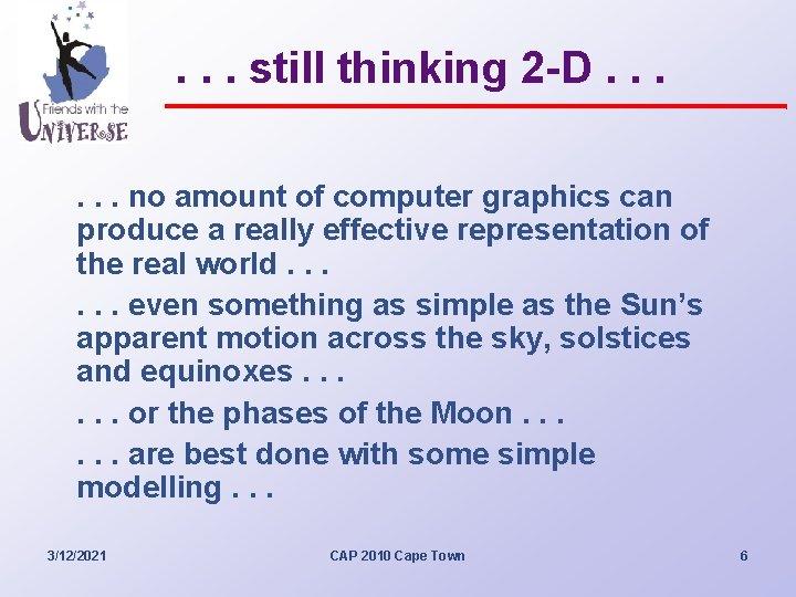 . . . still thinking 2 -D. . . no amount of computer graphics
