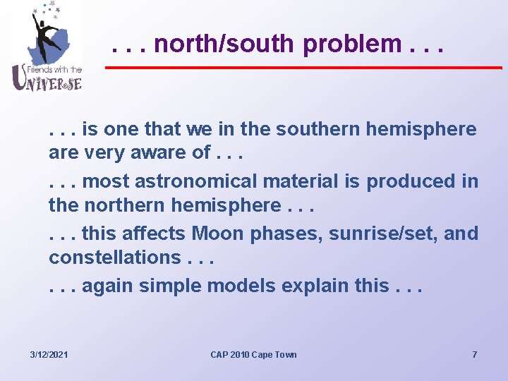 . . . north/south problem. . . is one that we in the southern