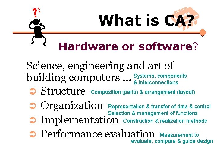 What is CA? Hardware or software? Science, engineering and art of components building computers