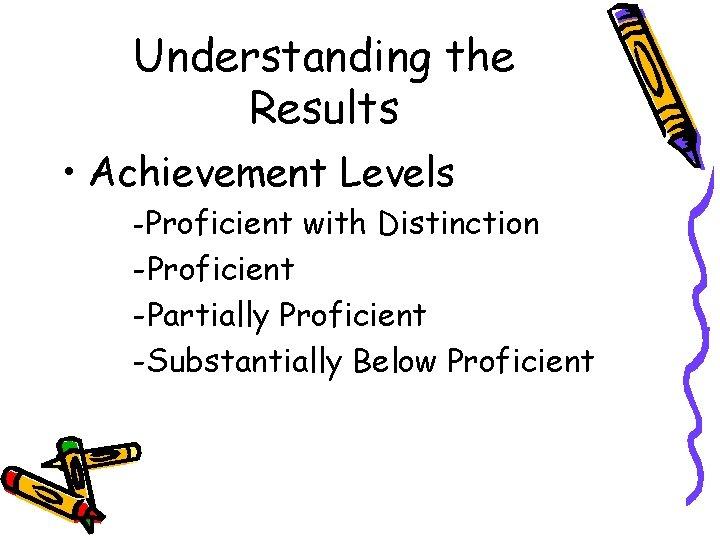 Understanding the Results • Achievement Levels -Proficient with Distinction -Proficient -Partially Proficient -Substantially Below