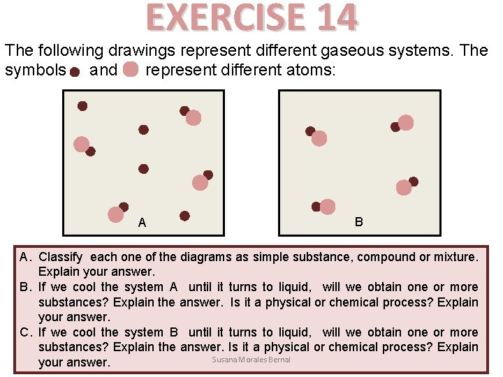 EXERCISE 14 The following drawings represent different gaseous systems. The symbols and represent different