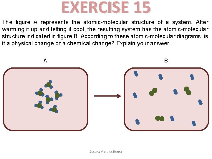 EXERCISE 15 The figure A represents the atomic-molecular structure of a system. After warming