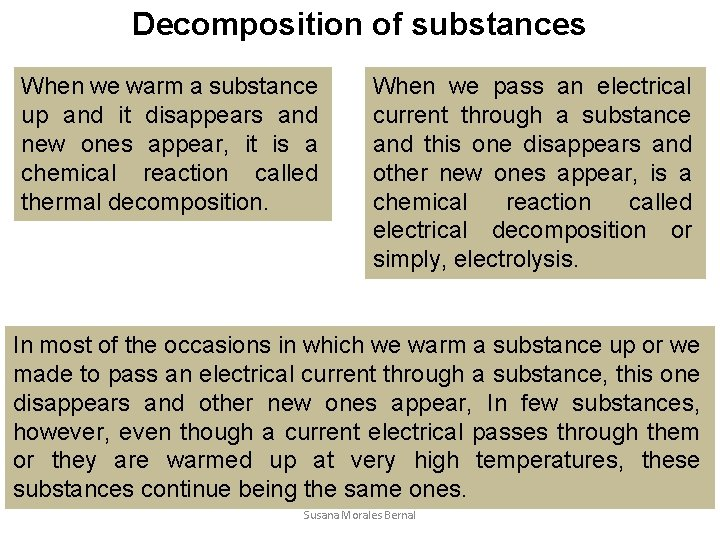 Decomposition of substances When we warm a substance up and it disappears and new
