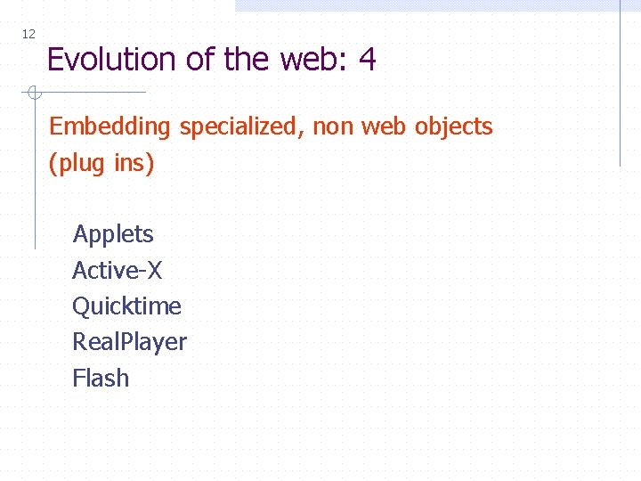 12 Evolution of the web: 4 Embedding specialized, non web objects (plug ins) Applets