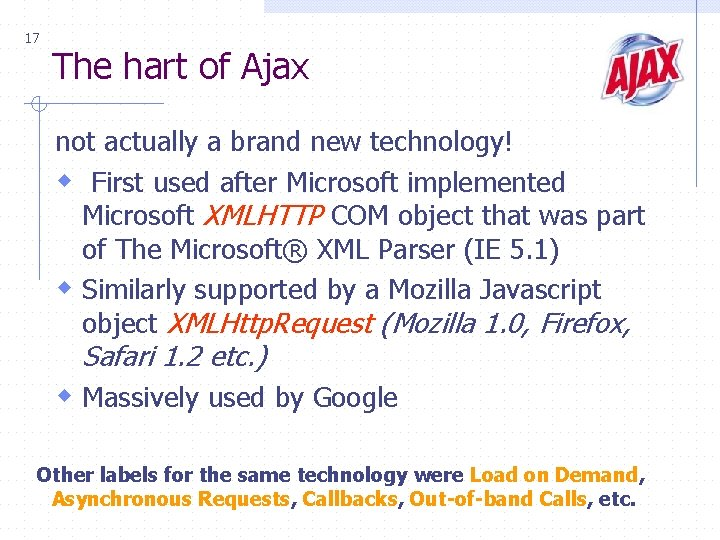 17 The hart of Ajax not actually a brand new technology! w First used