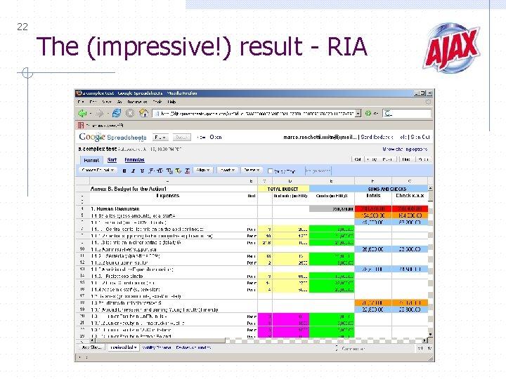 22 The (impressive!) result - RIA