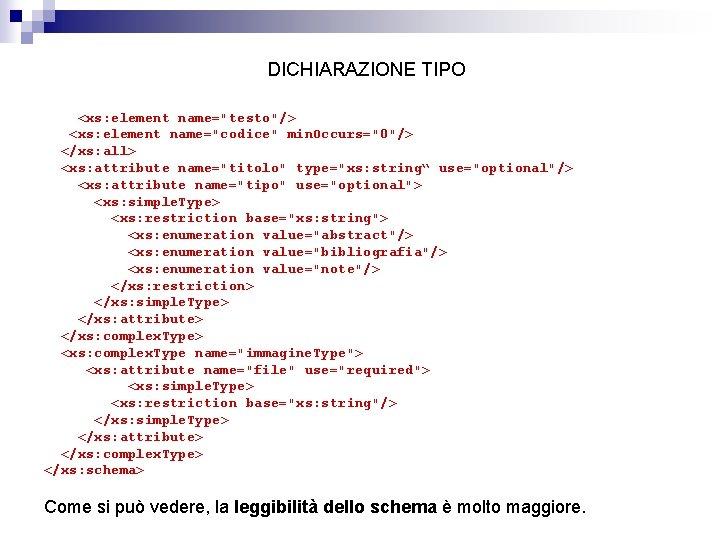 """DICHIARAZIONE TIPO <xs: element name=""""testo""""/> <xs: element name=""""codice"""" min. Occurs=""""0""""/> </xs: all> <xs: attribute"""