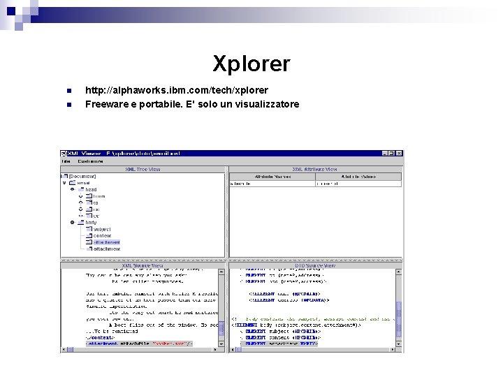 Xplorer n n http: //alphaworks. ibm. com/tech/xplorer Freeware e portabile. E' solo un visualizzatore