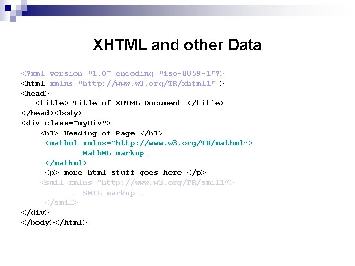 """XHTML and other Data <? xml version=""""1. 0"""" encoding=""""iso-8859 -1""""? > <html xmlns=""""http: //www."""