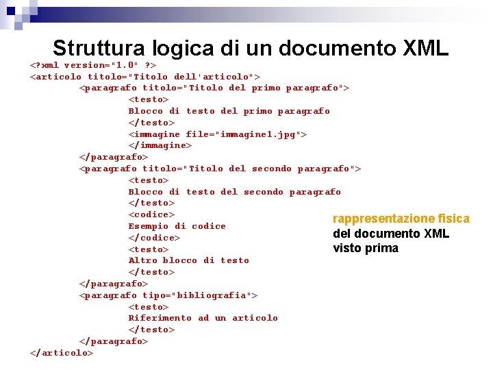 """Struttura logica di un documento XML <? xml version=""""1. 0"""" ? > <articolo titolo=""""Titolo"""