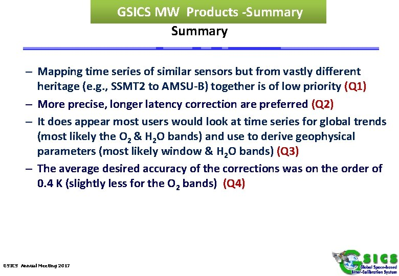 GSICS MW Products -Summary – Mapping time series of similar sensors but from vastly