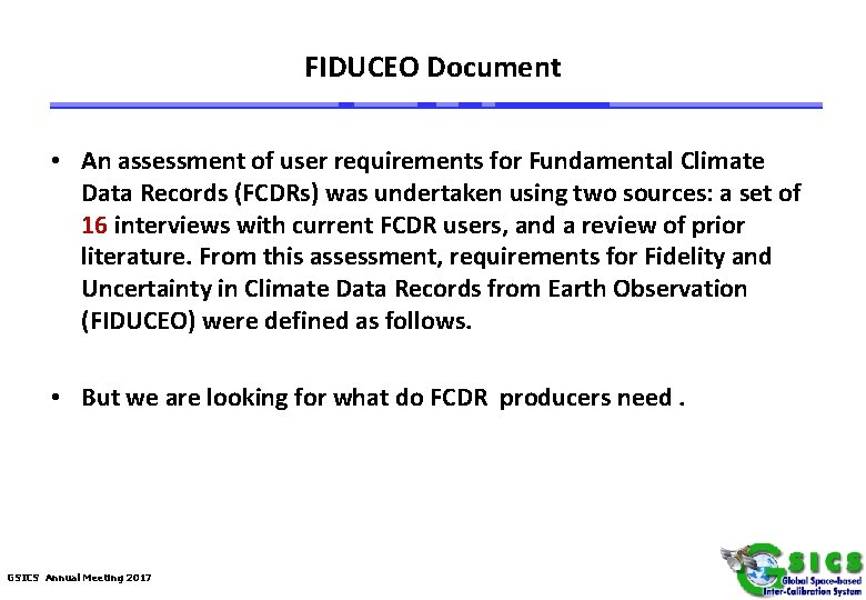 FIDUCEO Document • An assessment of user requirements for Fundamental Climate Data Records (FCDRs)