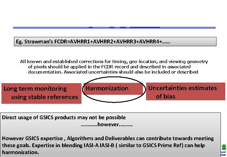 Eg. Strawman's FCDR=AVHRR 1+AVHRR 2+AVHRR 3+AVHRR 4+…… All known and established corrections for timing,