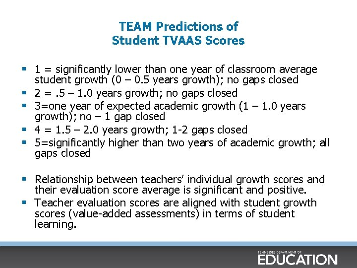 TEAM Predictions of Student TVAAS Scores § 1 = significantly lower than one year
