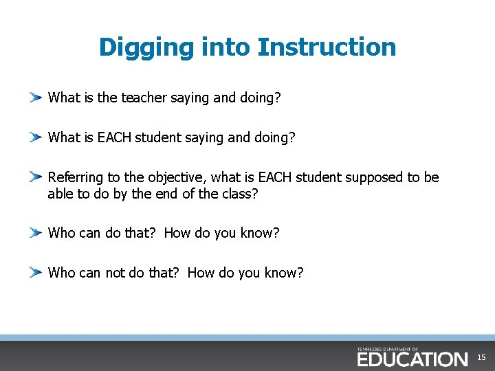 Digging into Instruction What is the teacher saying and doing? What is EACH student