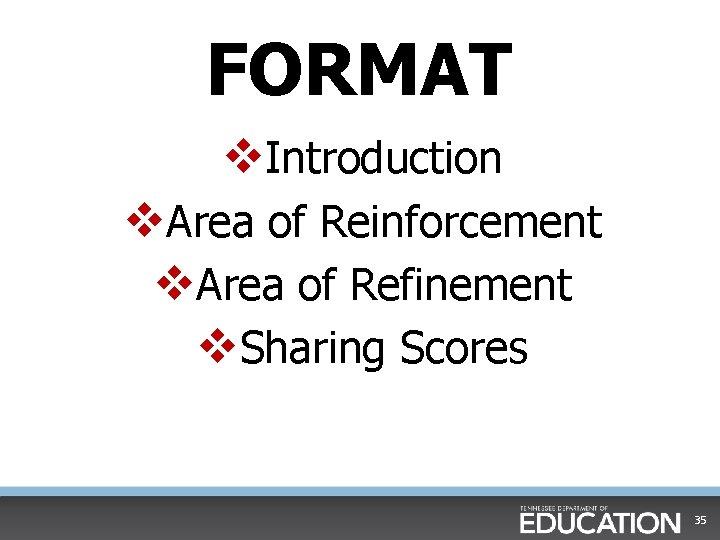 FORMAT v. Introduction v. Area of Reinforcement v. Area of Refinement v. Sharing Scores