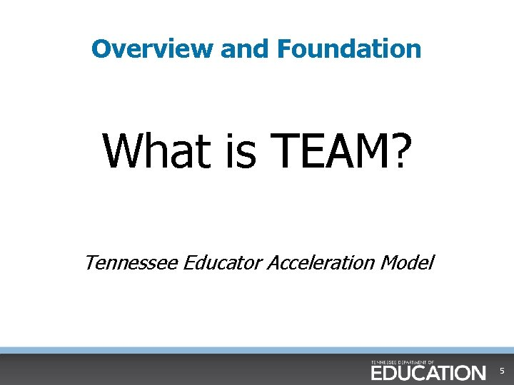Overview and Foundation What is TEAM? Tennessee Educator Acceleration Model 5