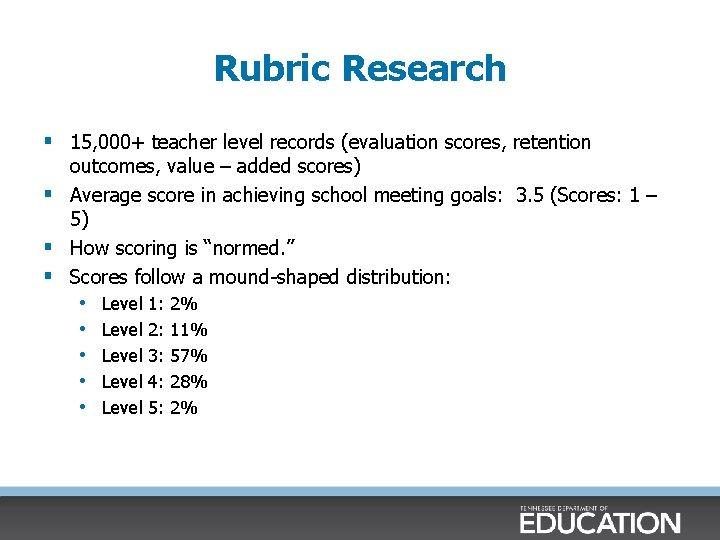 Rubric Research § 15, 000+ teacher level records (evaluation scores, retention outcomes, value –