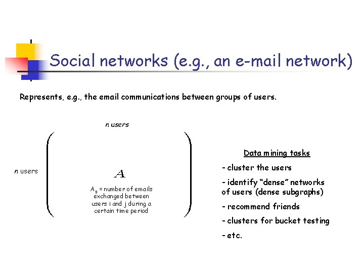 Social networks (e. g. , an e-mail network) Represents, e. g. , the email
