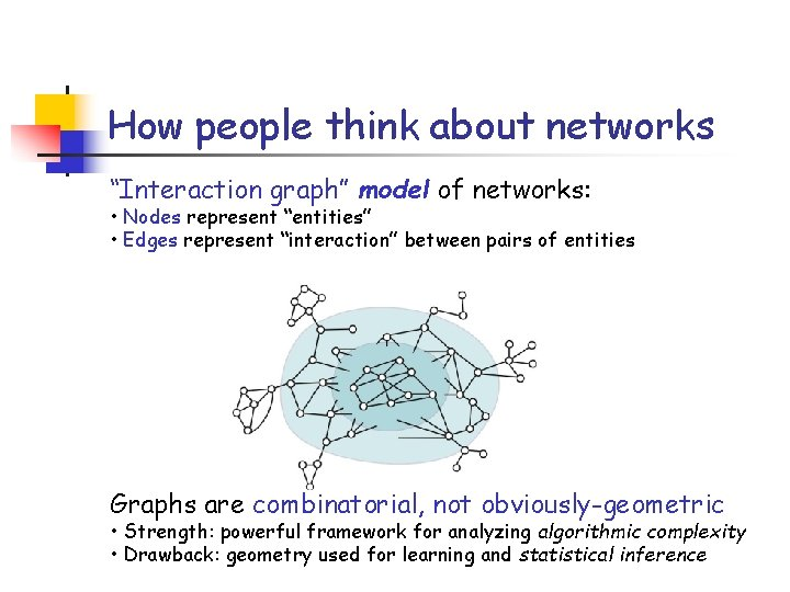 """How people think about networks """"Interaction graph"""" model of networks: • Nodes represent """"entities"""""""