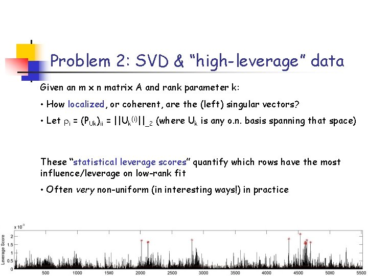 """Problem 2: SVD & """"high-leverage"""" data Given an m x n matrix A and"""
