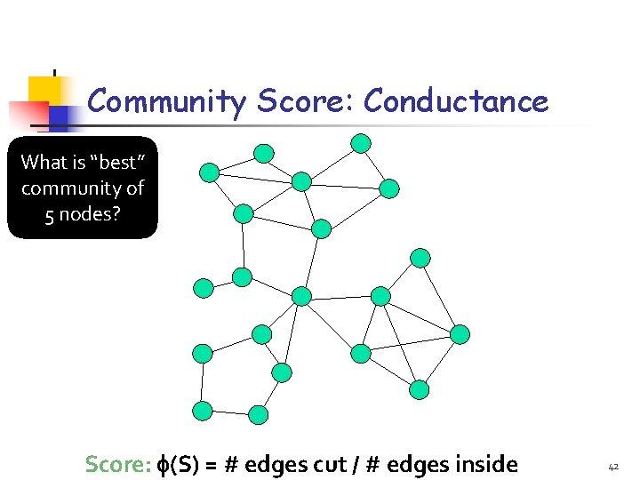 """Community Score: Conductance What is """"best"""" community of 5 nodes? Score: (S) = #"""