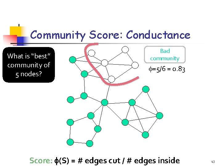"Community Score: Conductance What is ""best"" community of 5 nodes? Bad community =5/6 ="