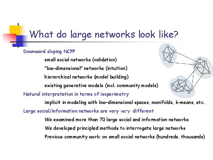 """What do large networks look like? Downward sloping NCPP small social networks (validation) """"low-dimensional"""""""