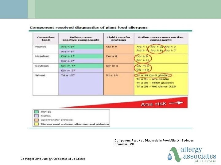 Component Resolved Diagnosis in Food Allergy. Sadudee Boonmee, MD. Copyright 2015 Allergy Associates of