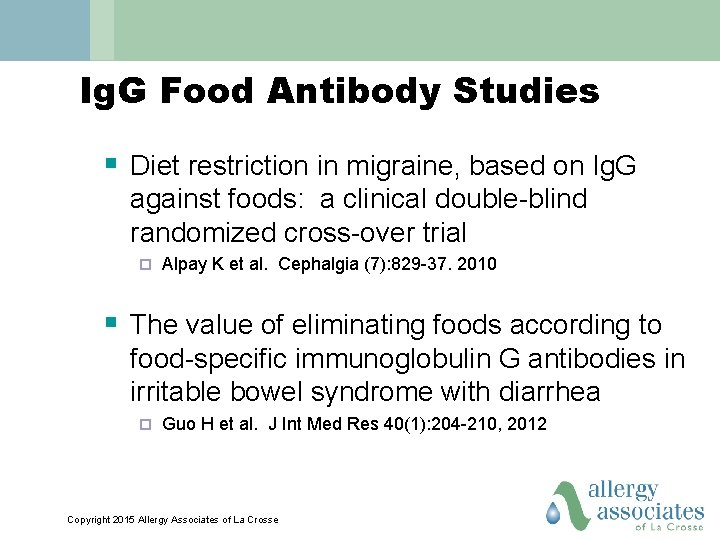 Ig. G Food Antibody Studies § Diet restriction in migraine, based on Ig. G