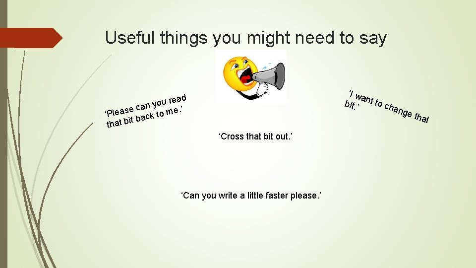 Useful things you might need to say 'I wa bit. ' nt to ch