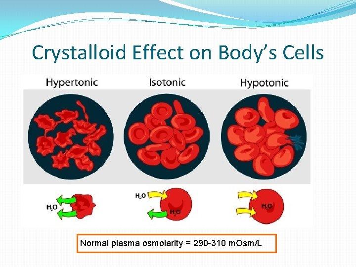 Crystalloid Effect on Body's Cells Normal plasma osmolarity = 290 -310 m. Osm/L