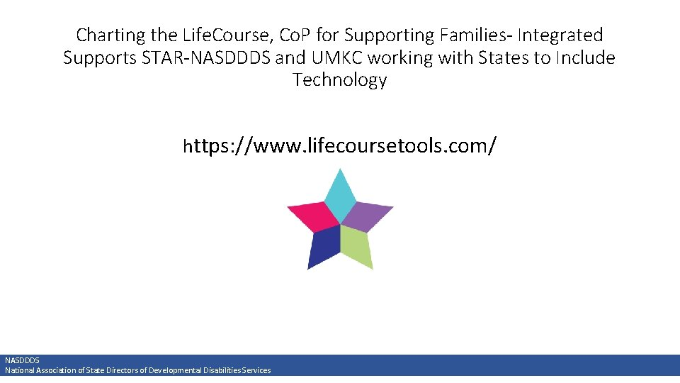 Charting the Life. Course, Co. P for Supporting Families- Integrated Supports STAR-NASDDDS and UMKC