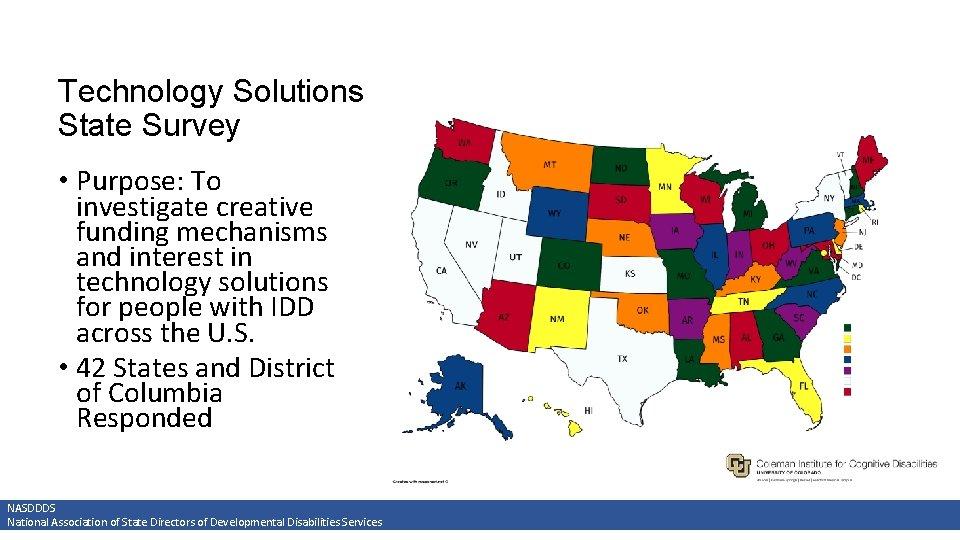 Technology Solutions State Survey • Purpose: To investigate creative funding mechanisms and interest in