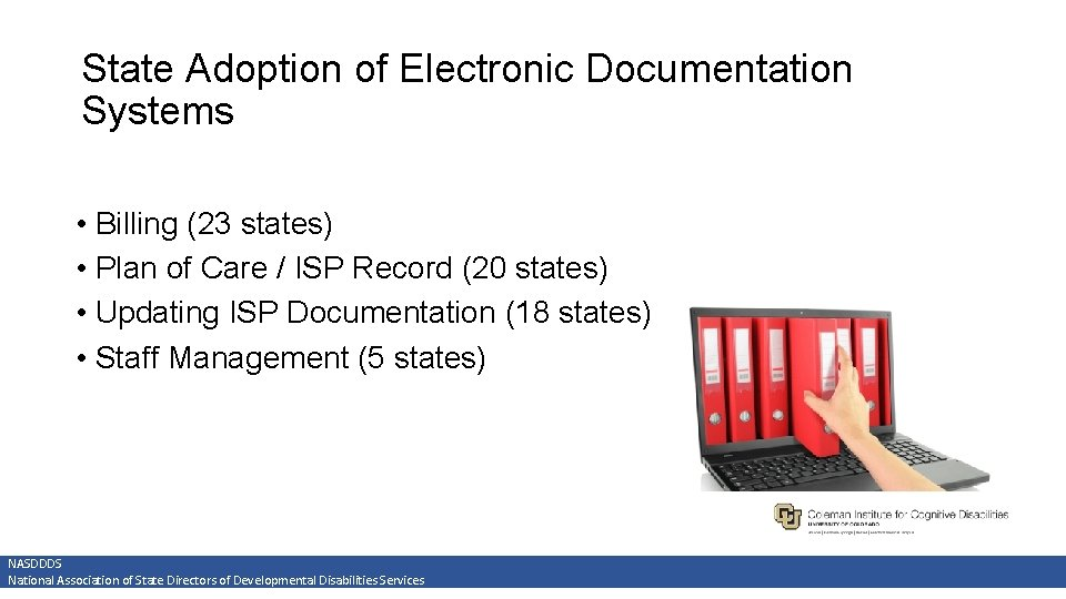 State Adoption of Electronic Documentation Systems • Billing (23 states) • Plan of Care
