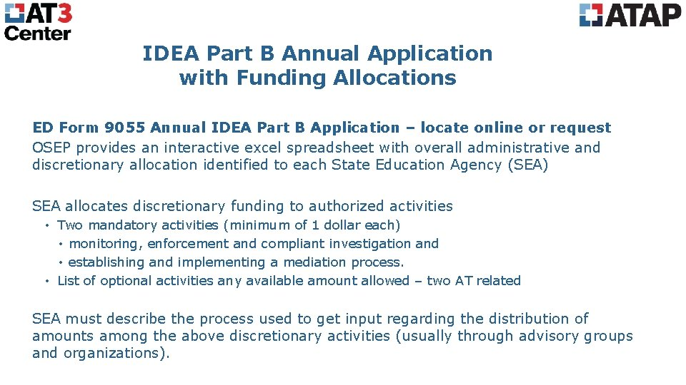 IDEA Part B Annual Application with Funding Allocations ED Form 9055 Annual IDEA Part