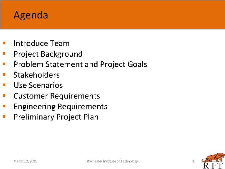 Agenda § § § § Introduce Team Project Background Problem Statement and Project Goals