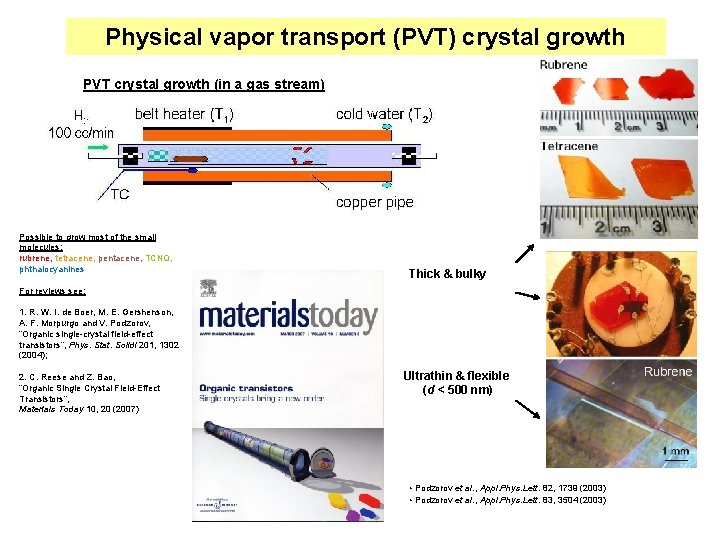 Physical vapor transport (PVT) crystal growth PVT crystal growth (in a gas stream) Possible