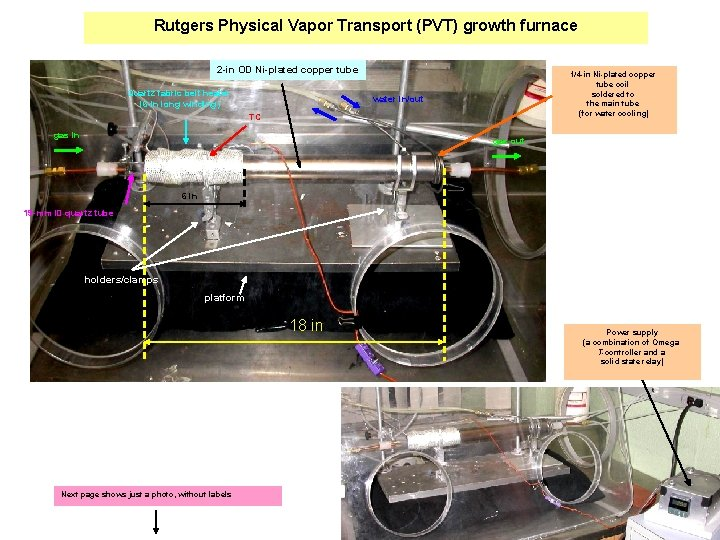 Rutgers Physical Vapor Transport (PVT) growth furnace 2 -in OD Ni-plated copper tube Quartz