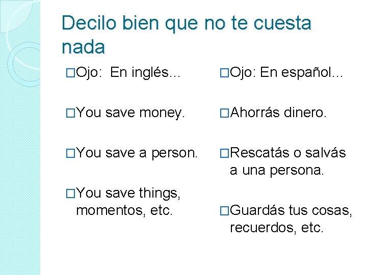 Decilo bien que no te cuesta nada �Ojo: En inglés… �You save money. �Ahorrás