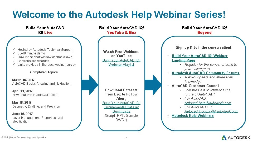 Welcome to the Autodesk Help Webinar Series! Build Your Auto. CAD IQ! Live ü