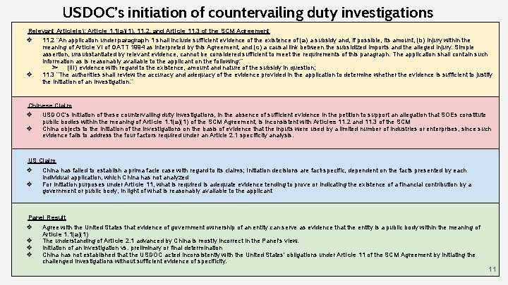 USDOC's initiation of countervailing duty investigations Relevant Article(s): Article 1. 1(a)(1), 11. 2, and