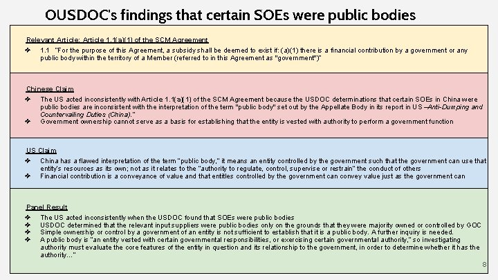 OUSDOC's findings that certain SOEs were public bodies Relevant Article: Article 1. 1(a)(1) of