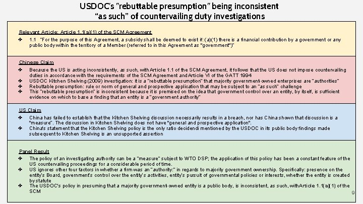 """USDOC's """"rebuttable presumption"""" being inconsistent """"as such"""" of countervailing duty investigations Relevant Article: Article"""