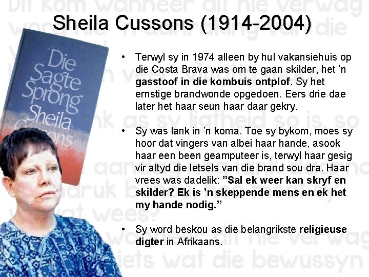 Sheila Cussons (1914 -2004) • Terwyl sy in 1974 alleen by hul vakansiehuis op