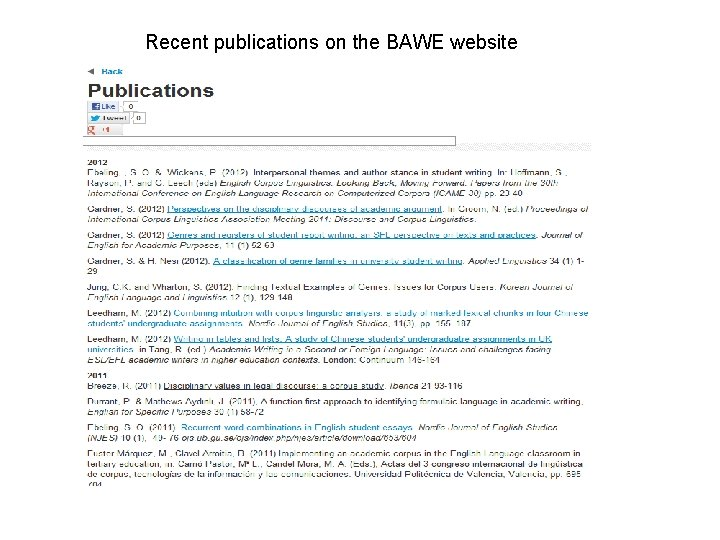 Recent publications on the BAWE website