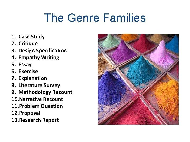 The Genre Families 1. Case Study 2. Critique 3. Design Specification 4. Empathy Writing