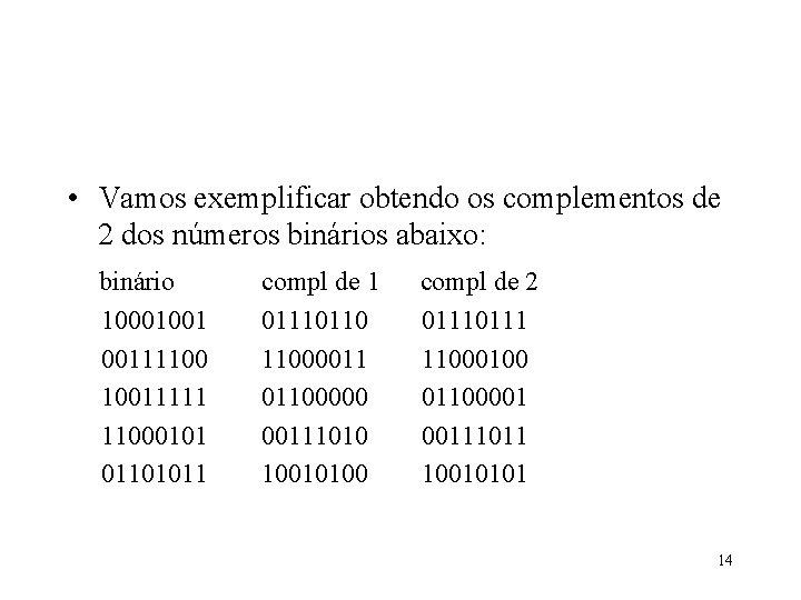 • Vamos exemplificar obtendo os complementos de 2 dos números binários abaixo: binário