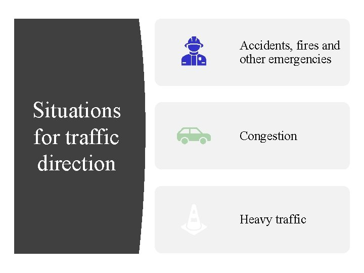 Accidents, fires and other emergencies Situations for traffic direction Congestion Heavy traffic